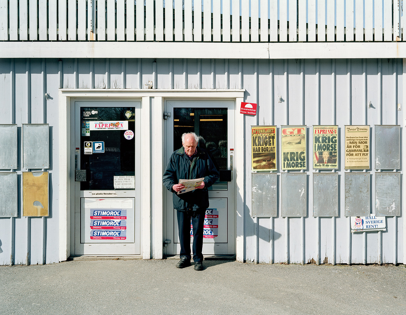 Outside the corner shop, Hökerum, 20 March 2003